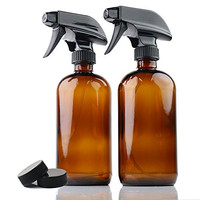 ChefLand (2 Pack) 16 Oz. Glass Spray Bottles for Multi-purpose Use Such As Kitchen, Bath, Beauty, and Gardening, with Durable Black Sprayer and Caps - Best Design for Cleaning and Liquid Storage - Amber