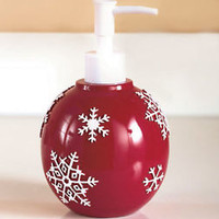 Crimson Snowflake Soap/Lotion Dispenser Bathroom Christmas Holiday Bath Decor
