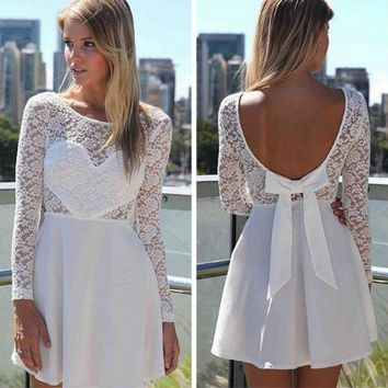 DCCKH3F CUTE LACE BACKLESS BOW SHOW BODY DRESS
