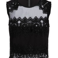 Womens Black Lace Crop Top Bustier Tee