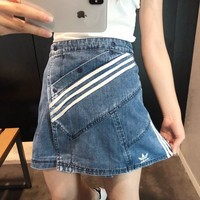 Adidas Button Denim Half-length Skirt