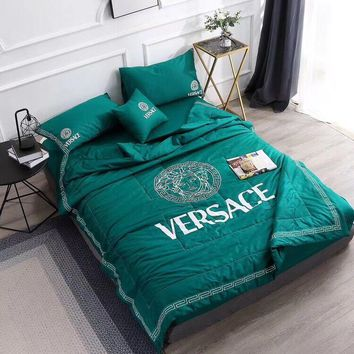 Green VERSACE Bedding Blanket Quilt Coverlet Pillow Shams 5 PCS Bedding Set