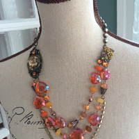Autumn Multi Strand Crystal Necklace - NAOMI - Fall Inspired Assemblage Necklace