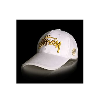 Stussy men baseball cap twill embroidery cap White