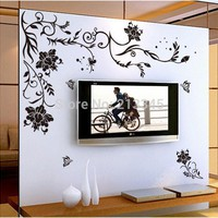 Flower Wall Stickers butterfly vine home decor