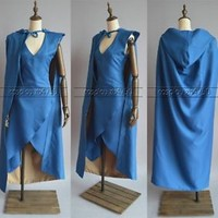 Game of Thrones Daenerys Targaryen Blue Dress Cosplay Costume Halloween Costume