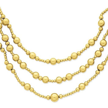 14K Yellow Gold Three-Strand Fancy Bead Necklace