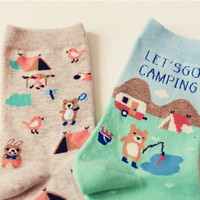 """""""Let's Go Camping"""" Cute Cotton Socks (2 pairs)"""