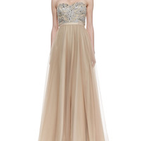 Women's Strapless Beaded Bodice Ball Gown, Gold - Aidan Mattox - Gold
