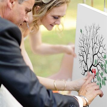 Creative DIY Guest Signature Sign-in Book Canvas Fingerprints Tree Painting for Wedding Birthday Party with 4pcs Ink Pads