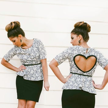 Peplum Heart Cut out Shirt in Grey Cream Made to order Upcycled Heart Top
