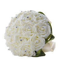 Handmade Ivory Silk Rose PE Artificial Flowers Bridal Wedding Bouquet
