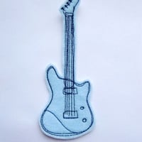 Iron On Guitar Patch Applique in Baby Blue
