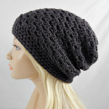 Dark Grey Slouchy Beanie, Womens Crochet Slouchy Hat, Slouchy Winter Hat, Grey Crochet Beanie, Dark Grey Crochet Hat, Granny Stitch Beanie
