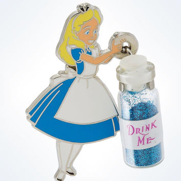disney parks alice in wonderland with drink me bottle pin new with card