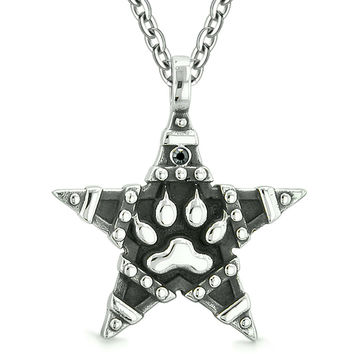 Wolf Paw and Magic Super Star Pentacle Powers Amulet Black Austrian Crystal Pendant 22 Inch Necklace