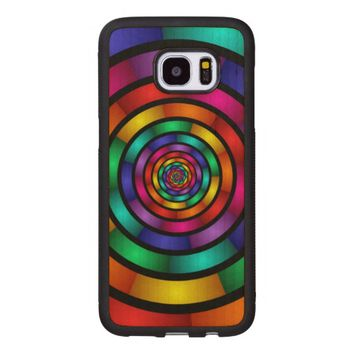 Round and Psychedelic Colorful Modern Fractal Art Wood Samsung Galaxy S7 Edge Case