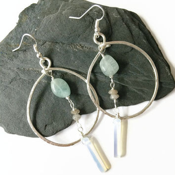 Silver Hammered Hoop Earrings with Aquamarine Nuggets Labradorite Rondelles and Opalite Gemstones Dangle Statement Gemstone Earrings (E250)