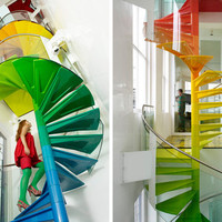 colorful-narrow-spiral-stairs-rainbow | View Home Trends