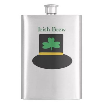 Irish Brew Shamrock Design Hip Flask
