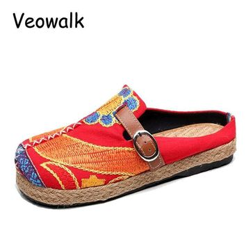 Veowalk Extreme Low Top Women Casual Linen Cotton Loafers Handmade Vintage Ladies Canv