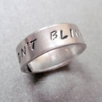 Doctor Who Inspired Skinny Ring  Don't Blink  Hand by emerydrive