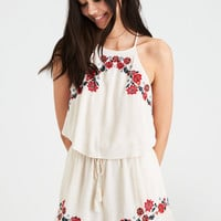 AE OFF-THE-SHOULDER RUFFLE BACK ROMPER, Cream