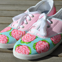 Lilly Pulitzer Inspired Hand Painted Canvas Shoes: First Impression Roses