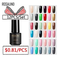 (12PCS/SET)ROSALIND Gel Nail Polish Set For Nail Extension Kit Nail Art Gel Lacquer Acrylic UV LED Lamp Design Manicure Set