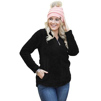 Black Zipped Pullover Fleece Outfit