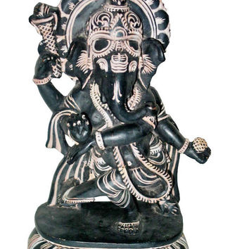 Ganesha Stone Statue Yoga Interior Decor Hindu Art Sculpture 8 Inches