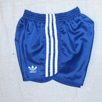 Vintage Rare 80s ADIDAS GLANZ SPRINTER Sports Athletic Gym Work Out Women Small Poly Cotton Lined Shiny Blue Shorts