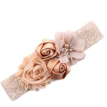 CREYLD1 2017 newborn headband rose hair band Chiffon flower lace elastic Rhinestone headbands children girls hair accessories 18colors