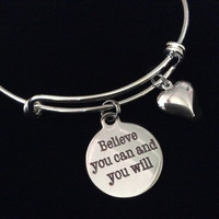 Believe You Can and You Will Expandable Bracelet Silver Plated Wire Adjustable Bangle Charm Inspirational Trendy Handmade Stacking
