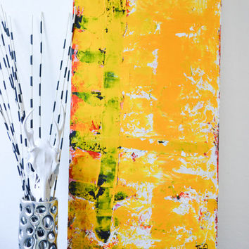 Sun Comb- an original abstract acrylic painting by FQ Studios, yellow painting, modern art, abstract art, textured art