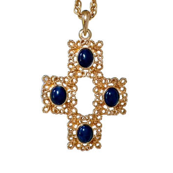 Cross Pendant Necklace - Blue and Gold Cross, Large Cross Necklace, Filigree Cross, 1970s Jewelry, Long Necklace, Big Pendant, Blue Necklace