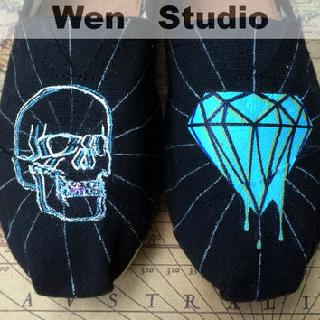 Diamond Skull Inspired Design Custom Hand Painted Shoes Canvas Classic Flats Shoes,Custom Shoes Best Birthday Gifts