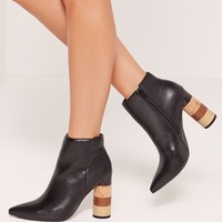 Missguided - Multi Printed Stack Heel Ankle Boots Black
