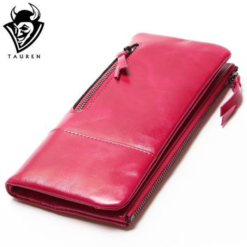 2017 New Women Retro Oil Wax Leather Passport Bag Longer Genuine Leather Cowhide Wallets Female Fashion Coin Purse High Quality