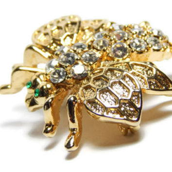 Gold Bumble Bee Brooch Gold Bee Pin Gold Honeycomb Wings