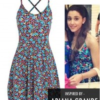 Ariana Grande Floral Thin Strap Cross Back Skater Dress