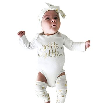 Thanksgiving Toddler Baby Girls Clothes Romper+Leg Warmers+Headband Set Outfits