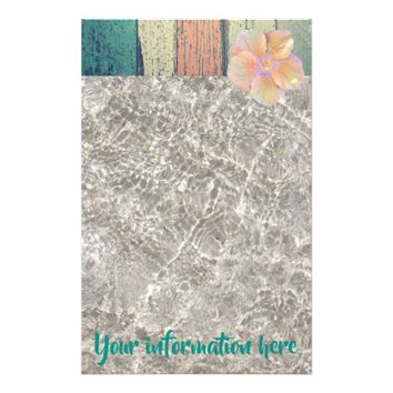 Boardwalk, water on sand stationary stationery