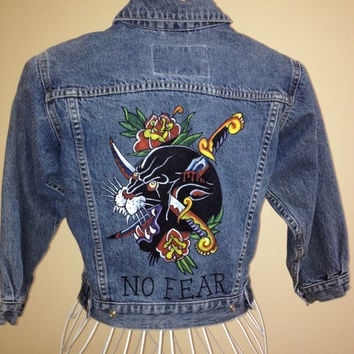 Tattoo art inspired Gap Kids Small (size 8-10) unisex denim jacket. Hand painted one-of-a-kind panther design.