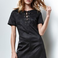 Renamed Faux Suede Lace-Up Dress - Womens Dress