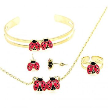 Gold Layered Earring and Pendant Children Set, Ladybug and Rolo Design, Golden Tone