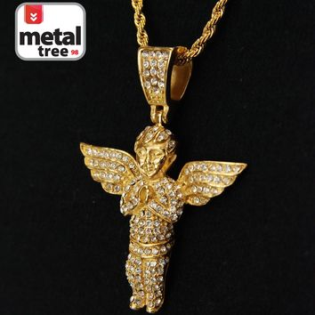 "Jewelry Kay style Men's 14k Gold Plated Stainless Steel Baby Angel Pendant 24"" Rope Chain 3002 G"