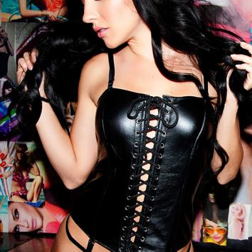 Leather Lace Up Corset Set