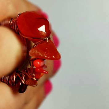 Coral Cocktail Stacking Ring, Fiery Stones Wrapped in Warm Copper, Ready To Ship Size 7.5