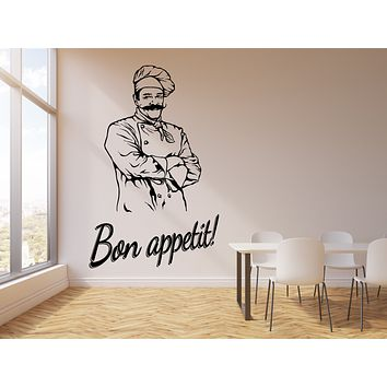 Vinyl Wall Decal Bon Appetit Kitchen Restaurant Cook Chef Stickers Mural (g3002)